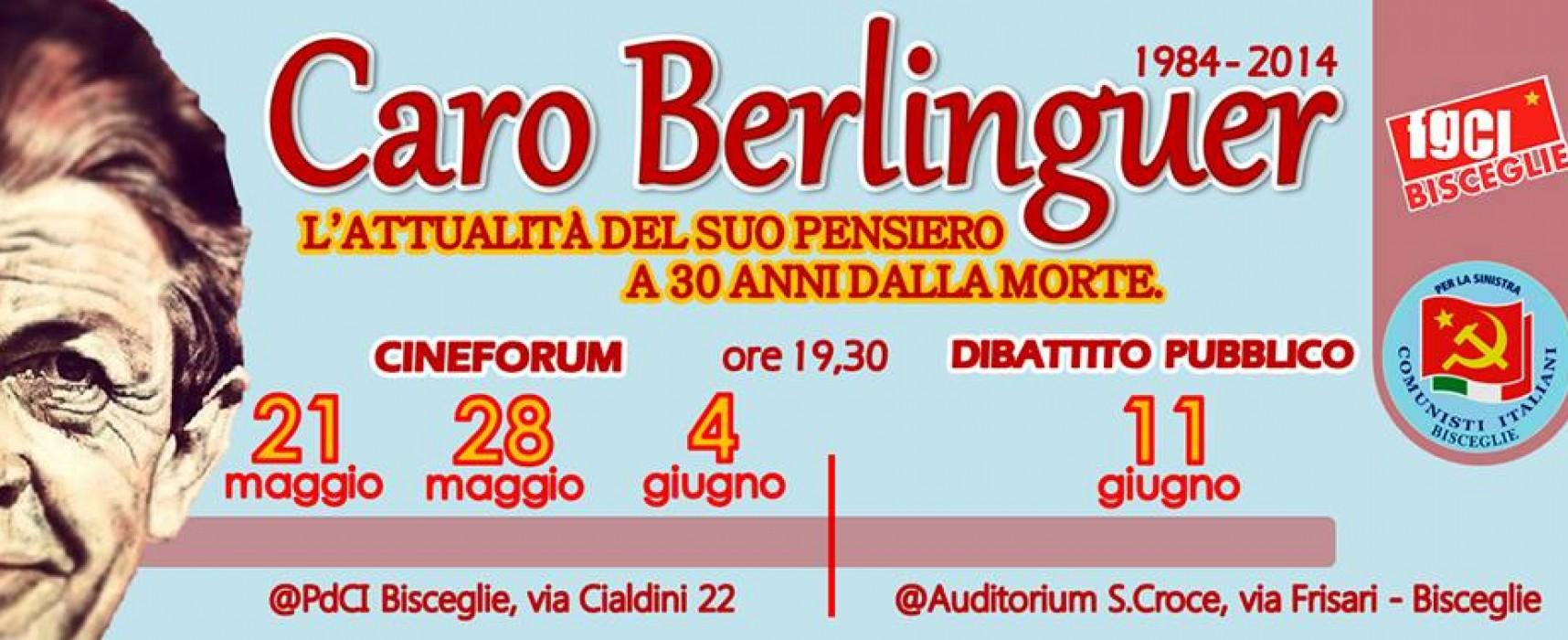 PDCI Bisceglie, cineforum in memoria di Enrico Berlinguer