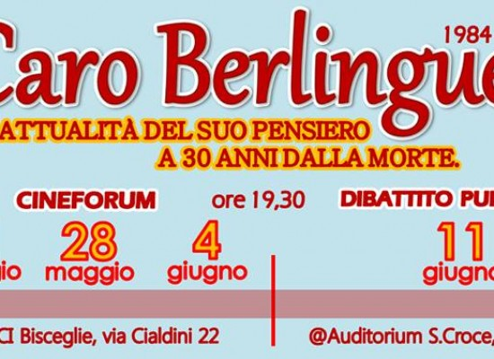PDCI Bisceglie, cineforum in memoria di Enrico Berlinguer