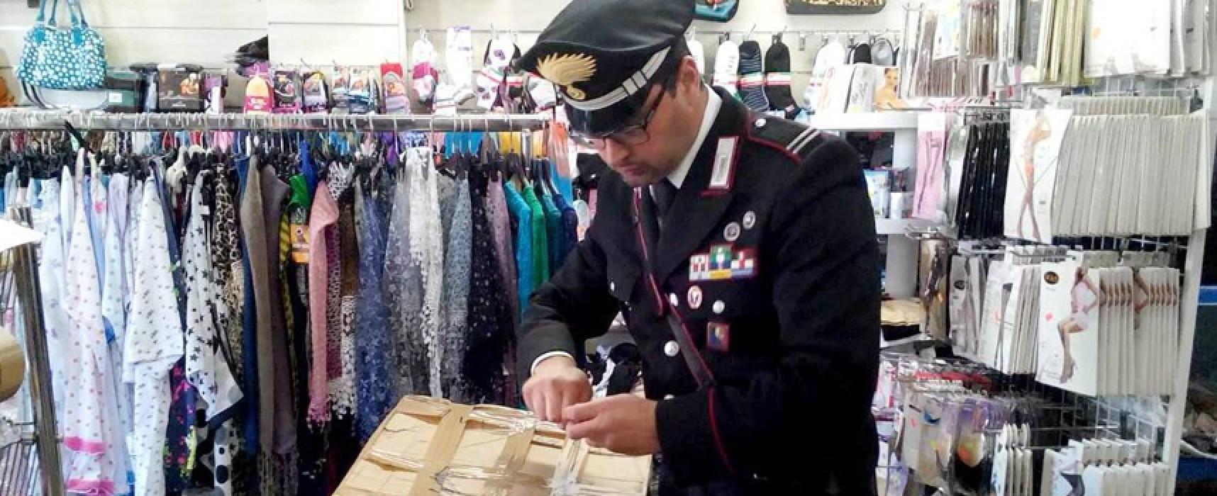 """Articoli senza marchio """"Ce"""", maxi sequestro dei Carabinieri in negozi cinesi di Bisceglie e Trani"""