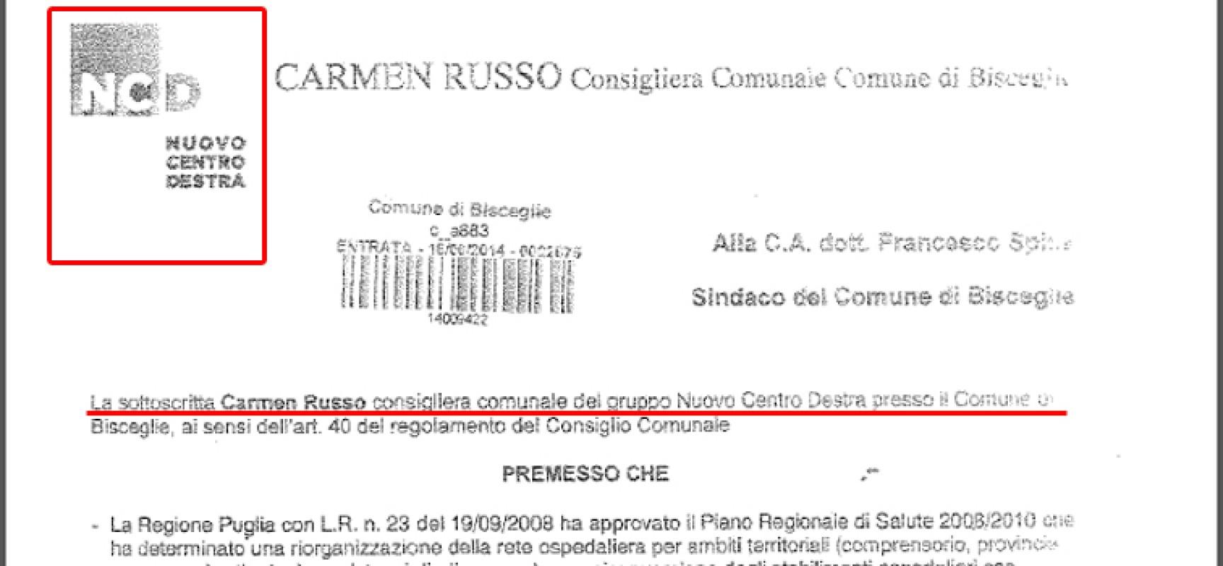 Carmen Russo lascia la Dc di Casella e passa in maggioranza con Ncd?