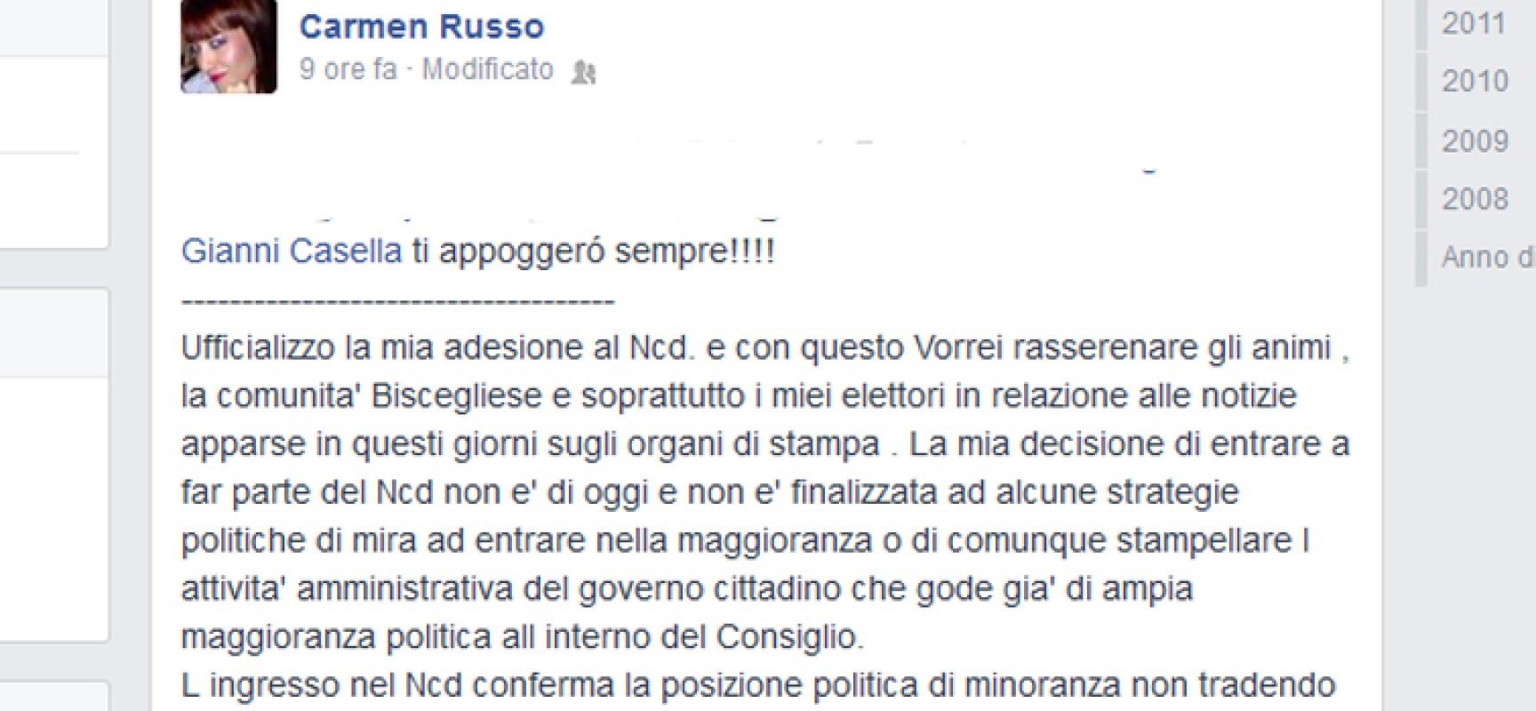 """Carmen Russo: """"Entro in Ncd ma in consiglio no"""", Alfonso Russo: """"Ma per cortesia"""""""