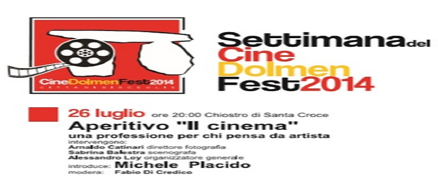 """Annullato l'aperitivo """"Il Cinema"""" in programma questa sera alle 20.00 presso il chiostro di Santa Croce"""