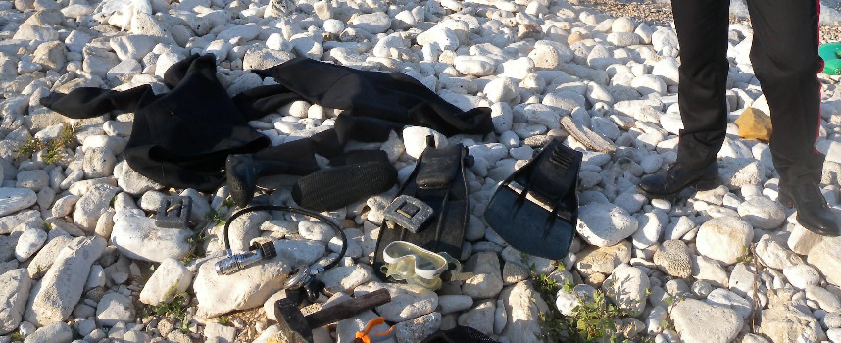 Sorpreso mentre pescava datteri alla Torretta, 27enne molfettese denunciato