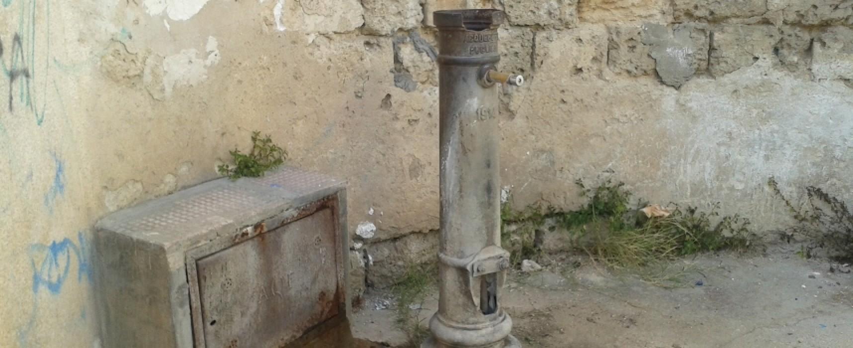 Dopo la bonifica dell'AQP la fontana di via Vecchia Corato può essere riattivata