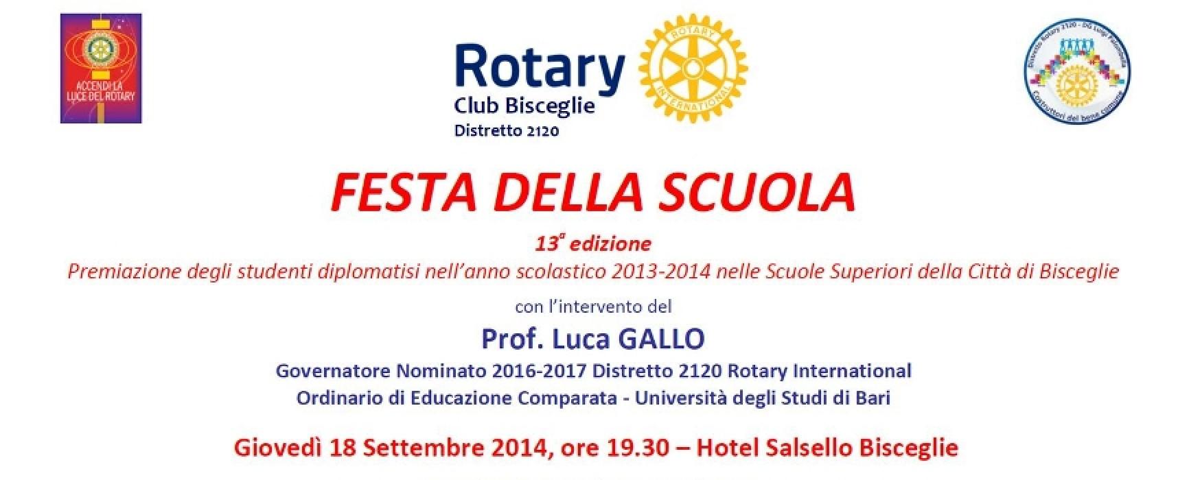 Festa della Scuola, il Rotary Club Bisceglie presenta la tredicesima edizione
