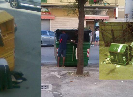 """""""Cassonetti depredati e rifiuti sparsi per le strade del centro"""", la denuncia di un nostro lettore"""