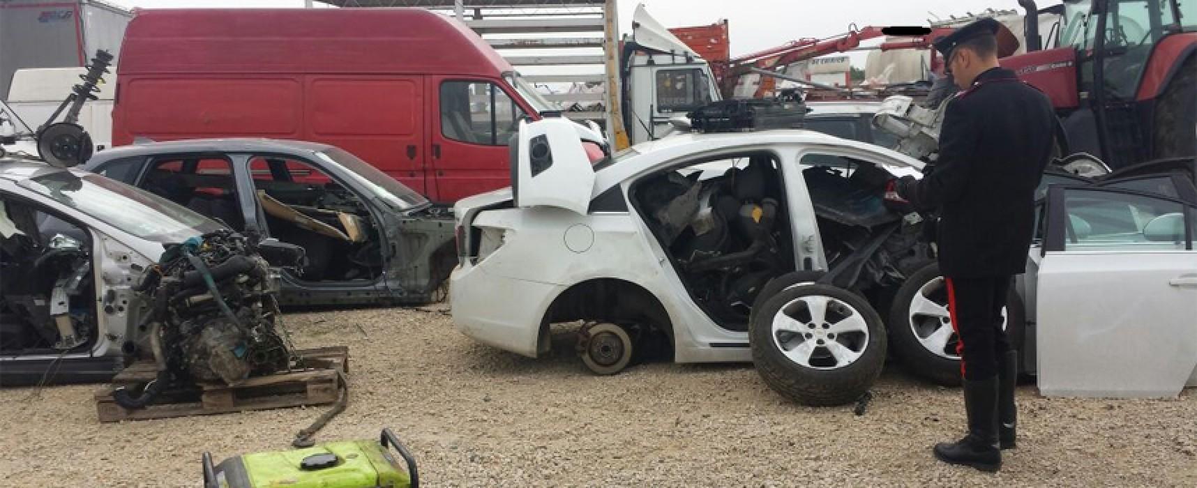 Scoperto ad Andria deposito-officina di auto rubate anche a Bisceglie / FOTO