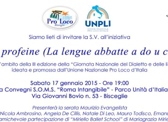 """Giornata Nazionale del Dialetto, la Pro Loco di Bisceglie presenta """"La trinitò proféine"""""""