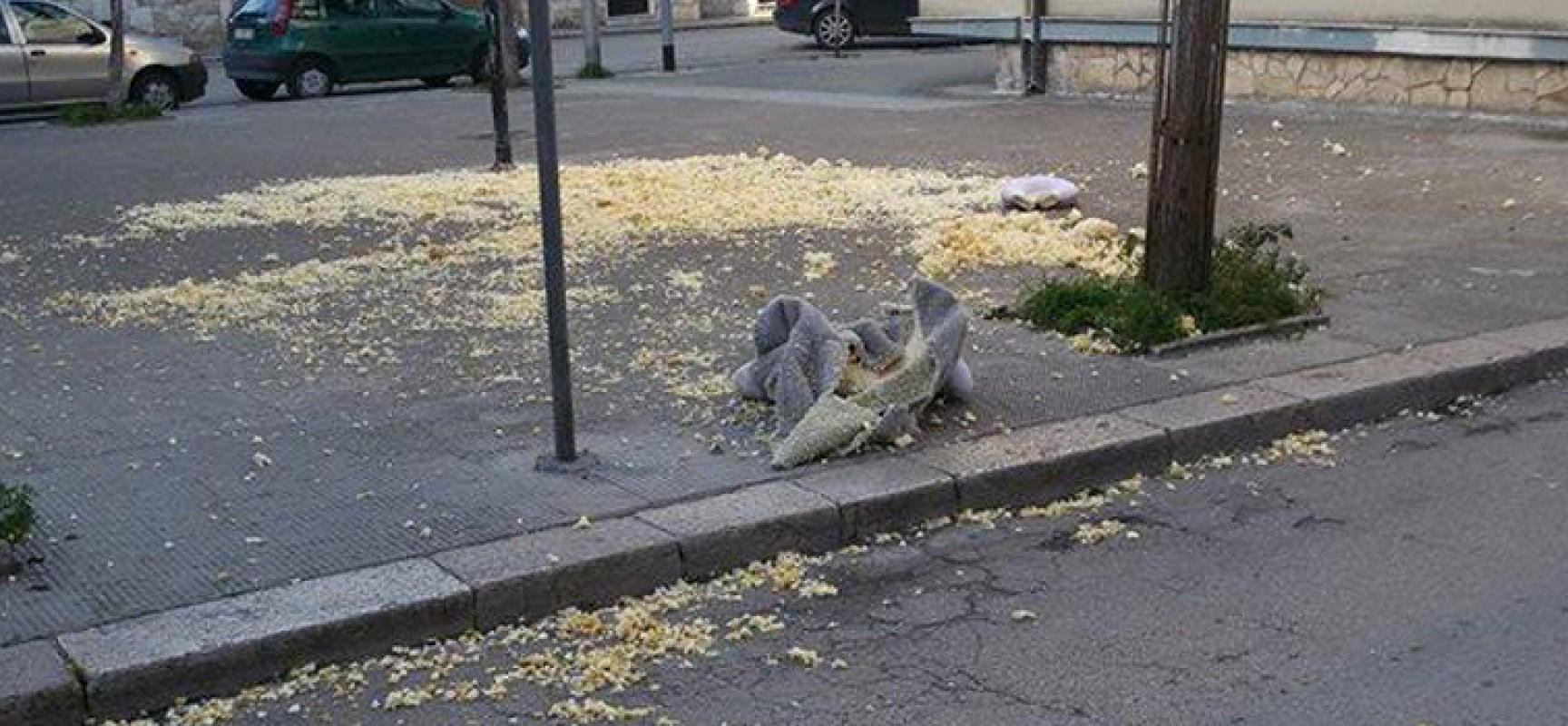 Bravata frutto dello scarso senso civico su via Luigi Papagni in piena ora di punta /FOTO