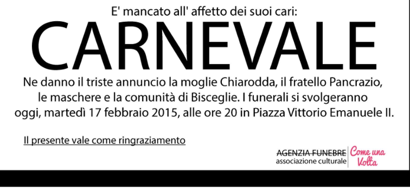 Questa sera torna in piazza il funerale a Carnevale
