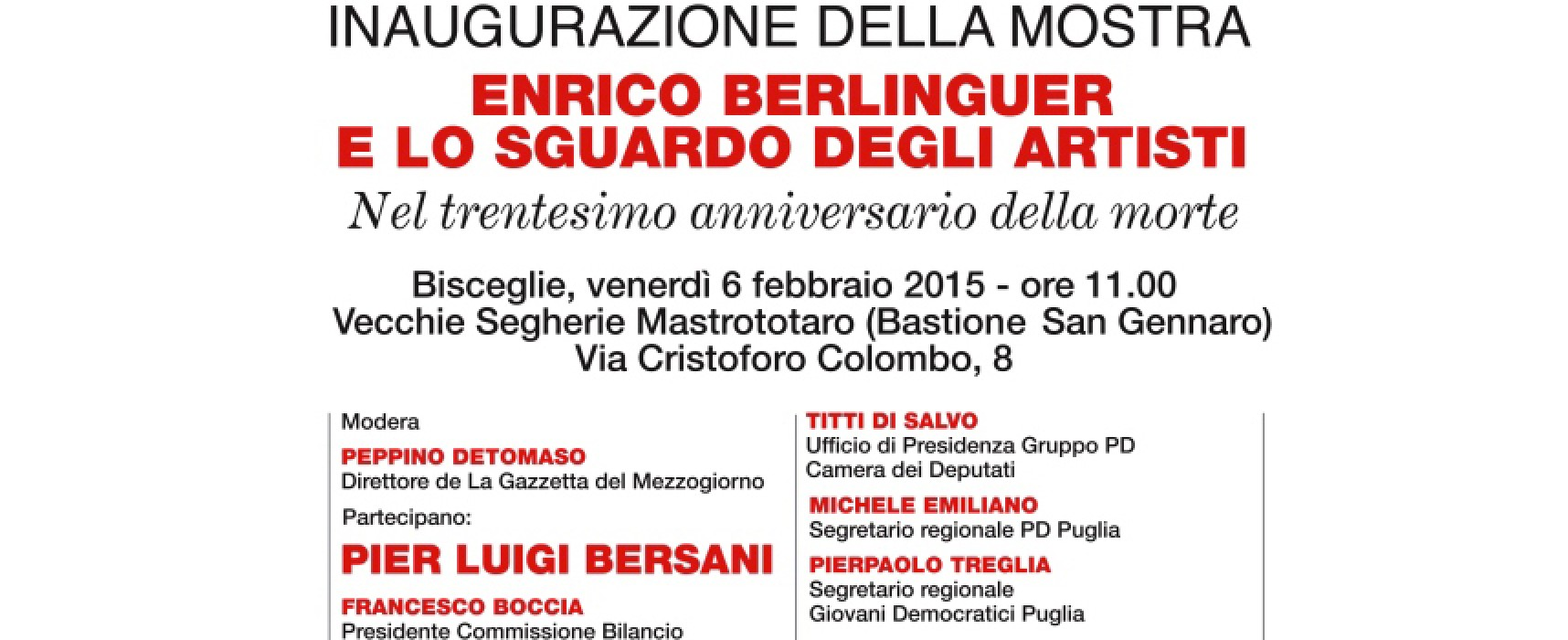 Inaugurazione della mostra su Berlinguer con Bersani, Emiliano e Boccia / LIVE STREAMING