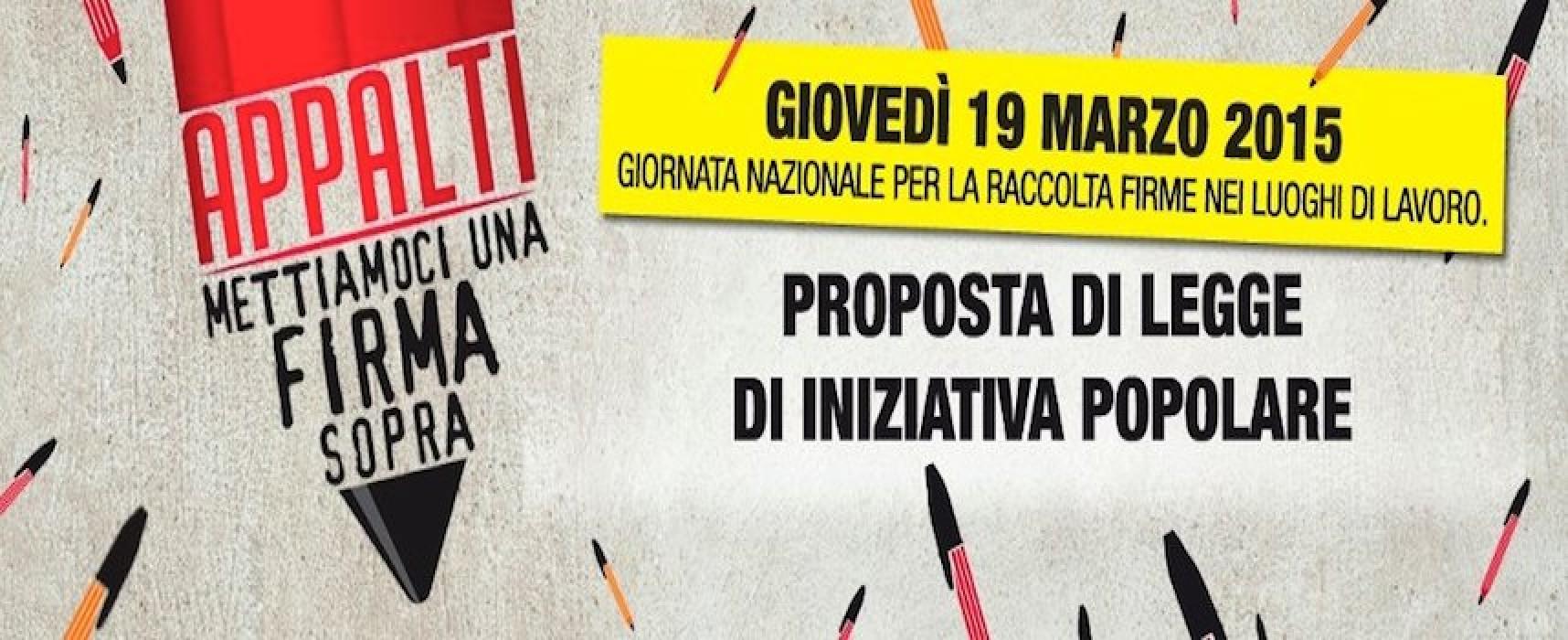 """""""Appalti, mettiamoci una firma sopra"""", il 19 marzo arriva a Bisceglie la raccolta firme della CGIL BAT"""