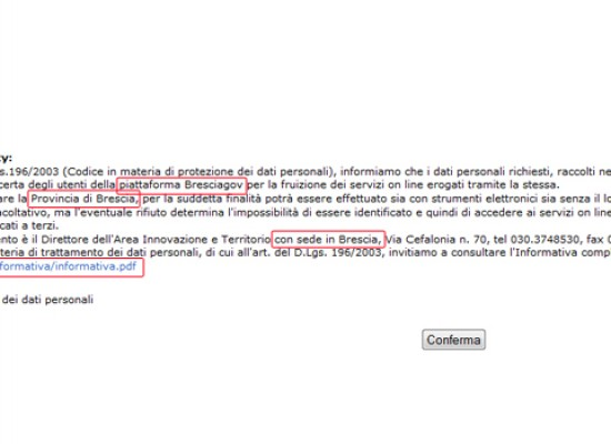 Errore sul sito web del Comune di Bisceglie? L'informativa privacy è a nome della Provincia di Brescia
