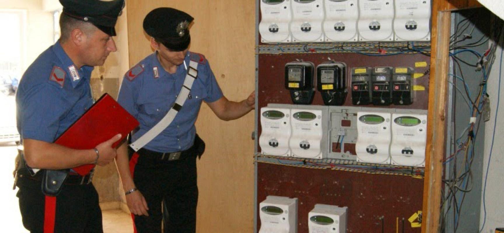 Furto di energia elettrica, sei arresti dei carabinieri