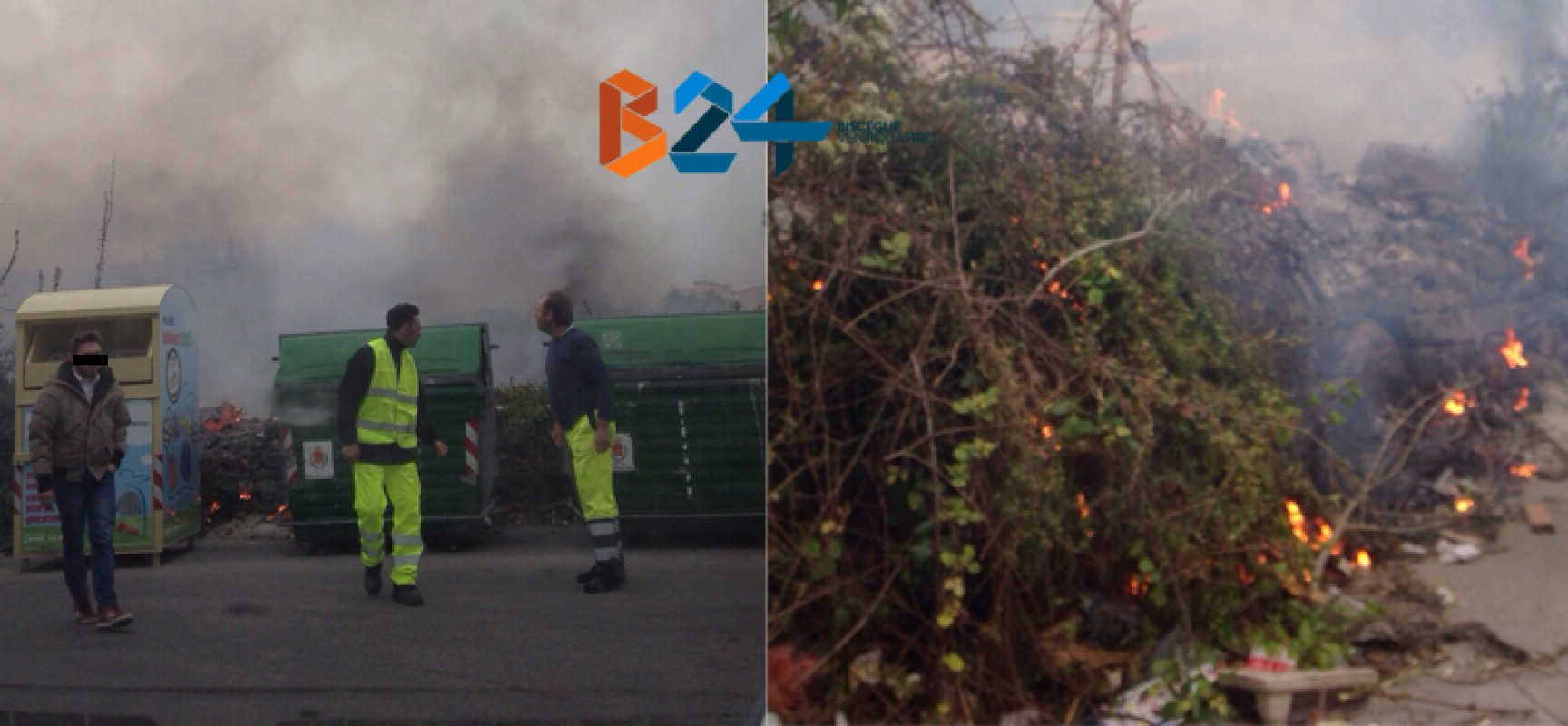 Sterpaglie a fuoco in via Ricasoli, evitato che l'incendio si propagasse / FOTO