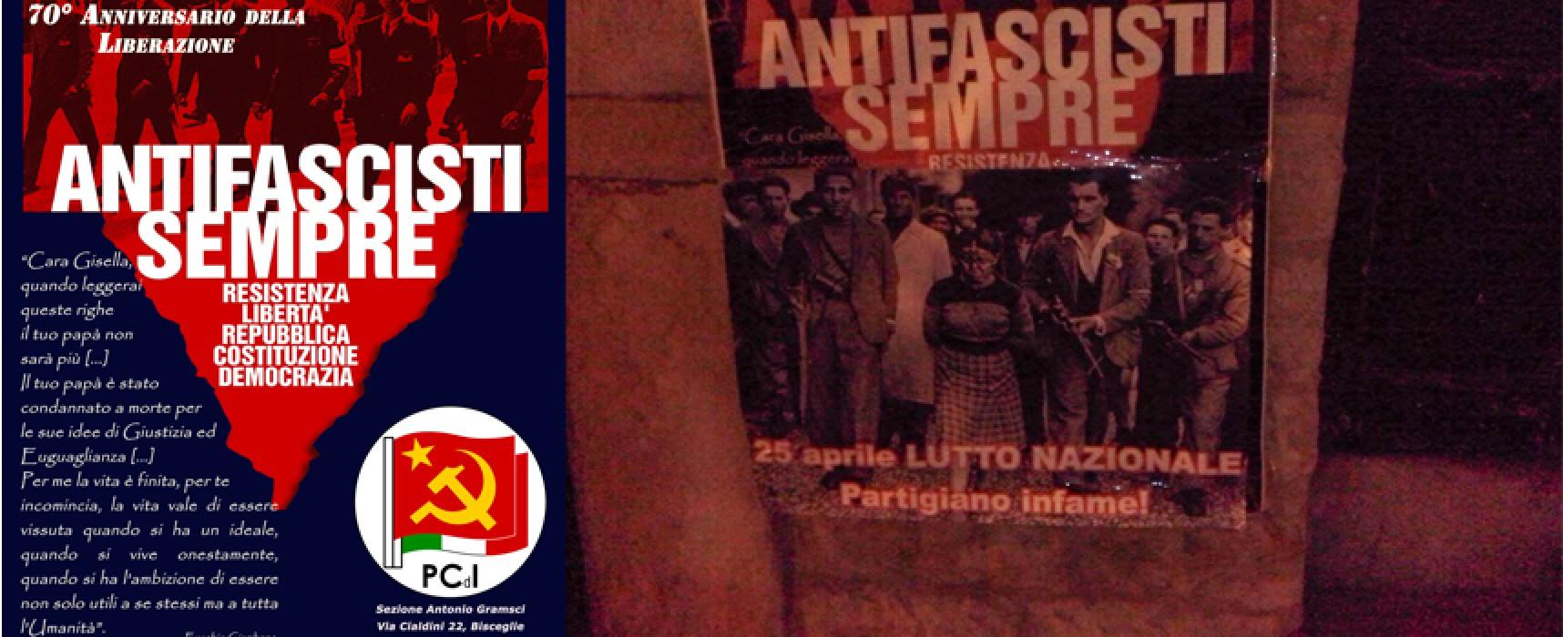 Messaggio neofascista sul manifesto del Pdci dedicato al 70° anniversario della Liberazione