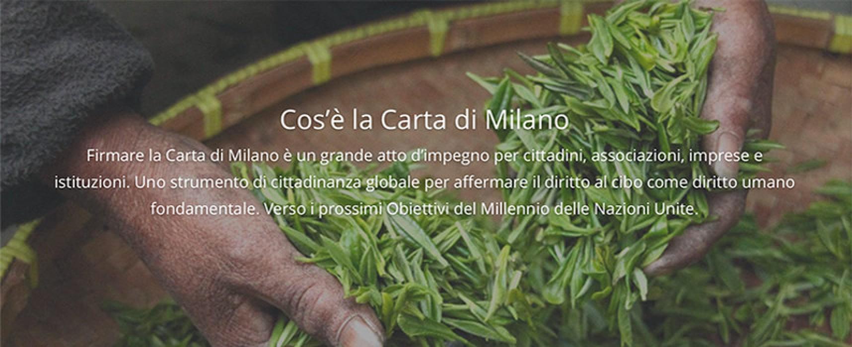 Il Comune di Bisceglie aderisce alla Carta di Milano, obiettivo combattere la fame nel mondo