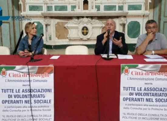 Consulta comunale per le politiche sociali, domani riunione pubblica al Castello Svevo