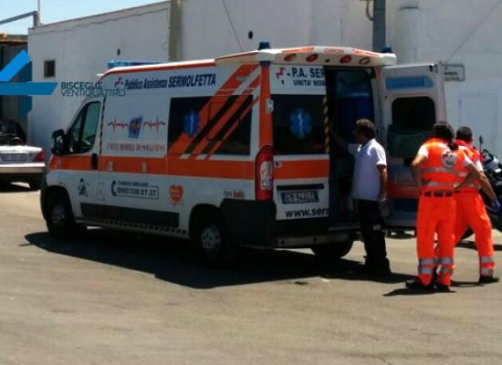 "Incidente dietro lo stadio ""Ventura"", 39enne tranese trasportato al pronto soccorso / FOTO"