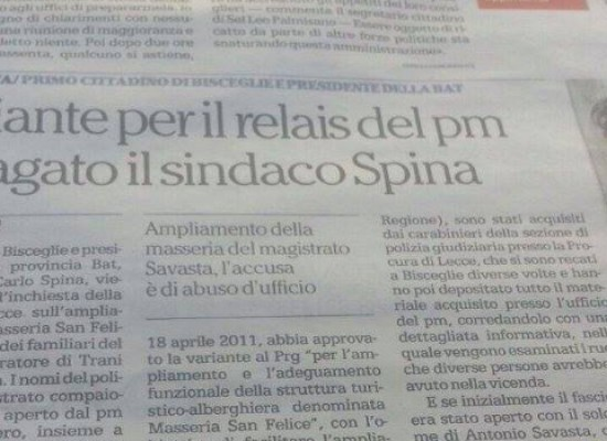Repubblica: Spina e Losapio indagati nell'inchiesta su Masseria San Felice