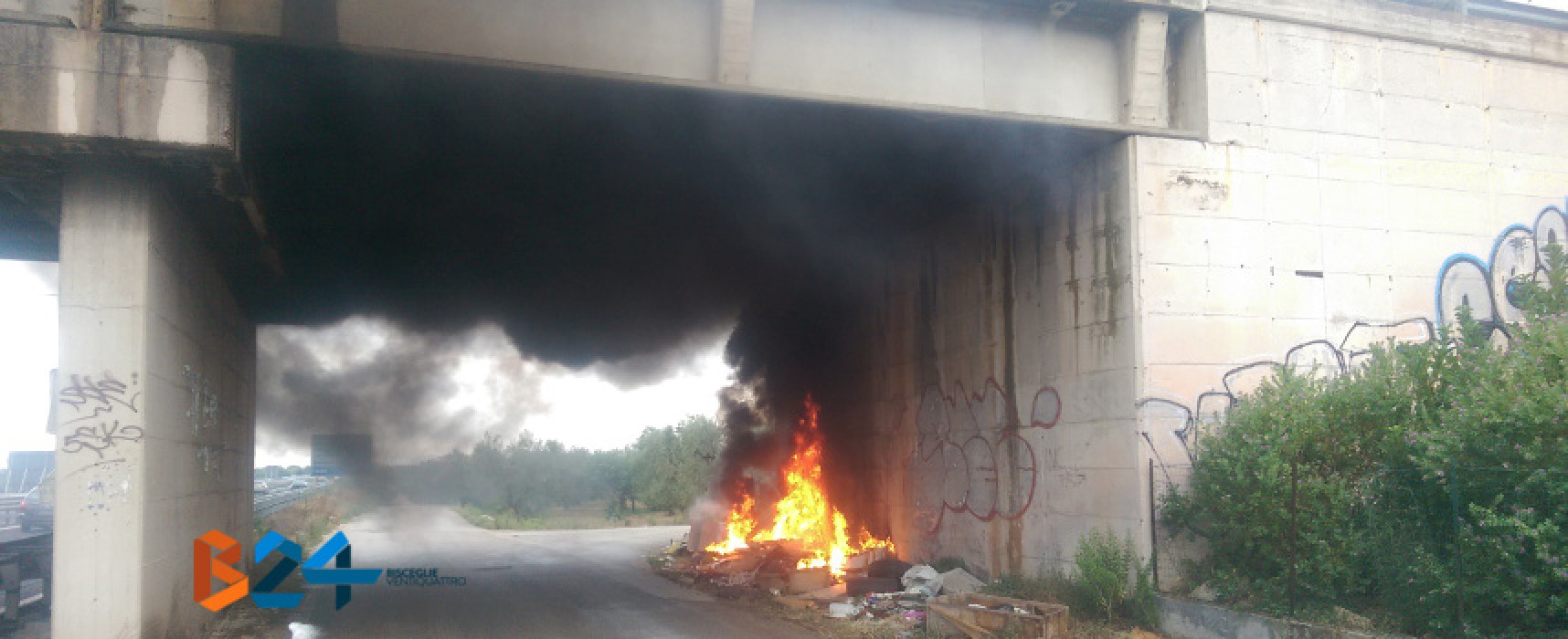 In fiamme discarica abusiva sotto il ponte di via Traversa Terlizzi, pronto intervento dell'O.E.R.