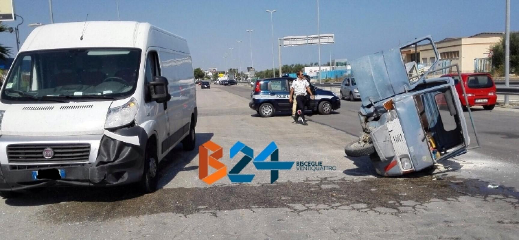 Scontro tra furgone e tre ruote nella zona artigianale, molfettese trasportato al Bonomo/FOTO