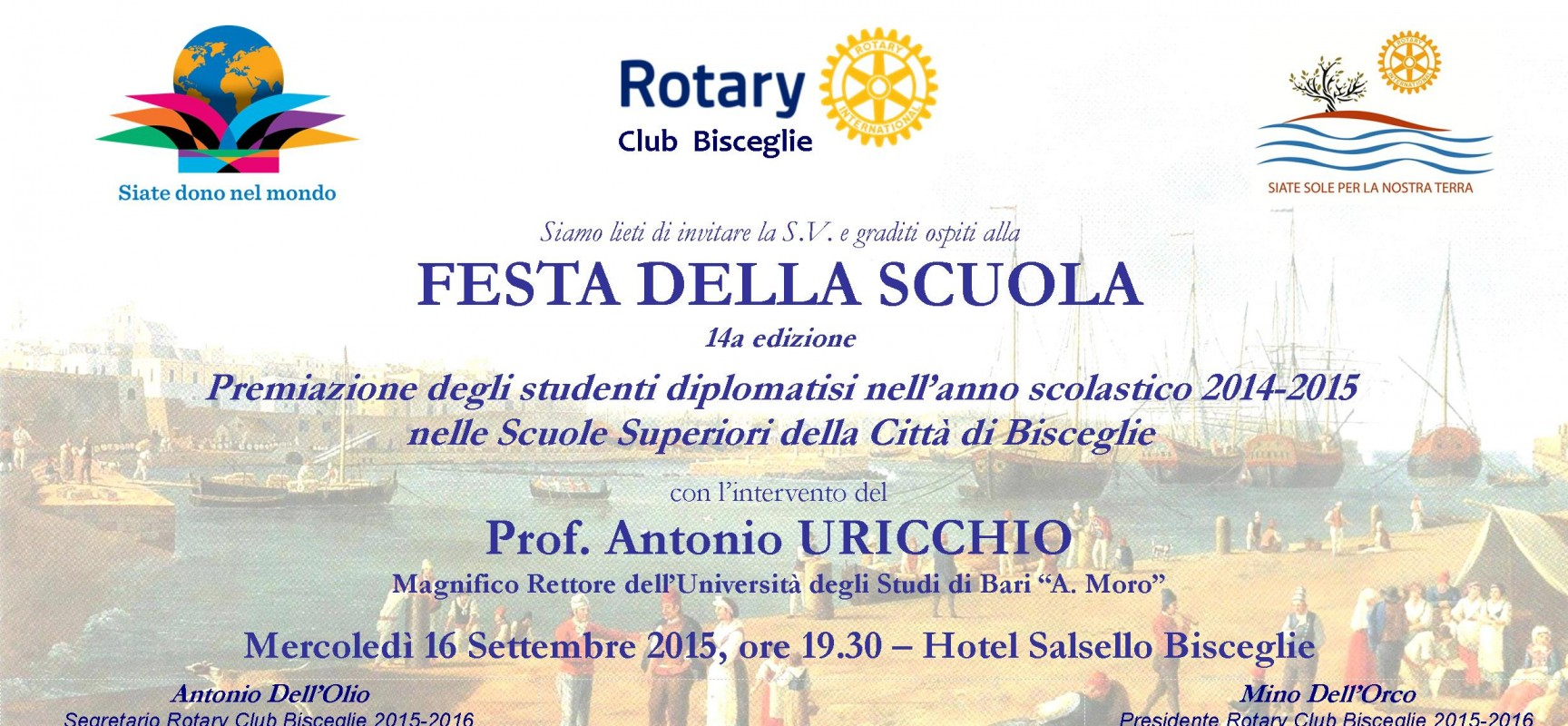 Festa della scuola, il Rotary Club premia le quattro eccellenze giovanili biscegliesi
