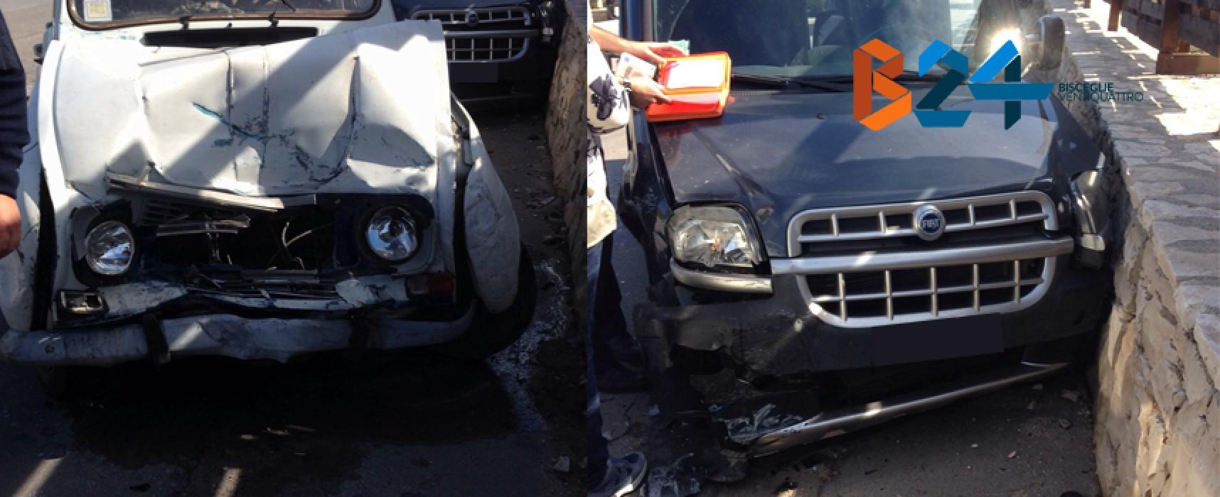 Incidente frontale questa mattina in via Imbriani, anziano biscegliese al pronto soccorso / FOTO