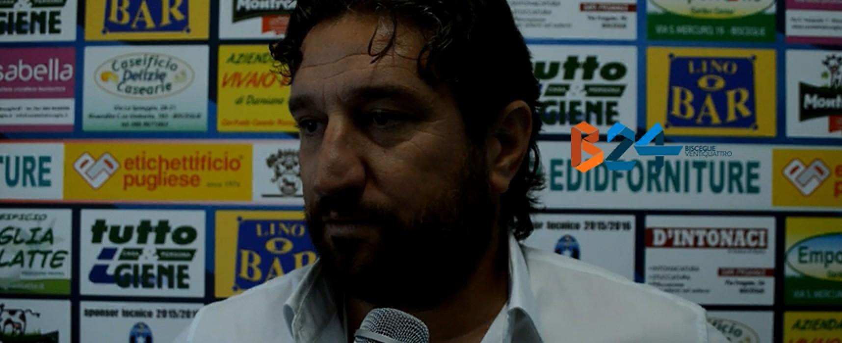 """Bisceglie calcio è crisi nera, De Santis: """"Non so più che fare, mi auguro accada un miracolo"""""""