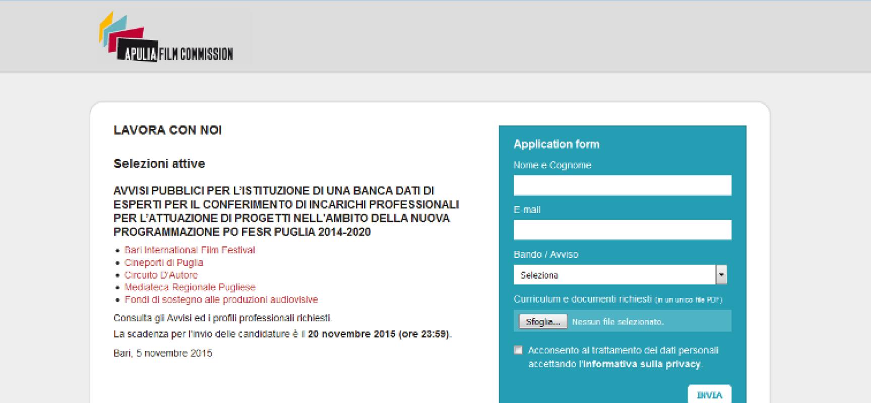 Opportunità di lavoro: Apulia Film Commission cerca addetti alla produzione, assistenti e uffici stampa