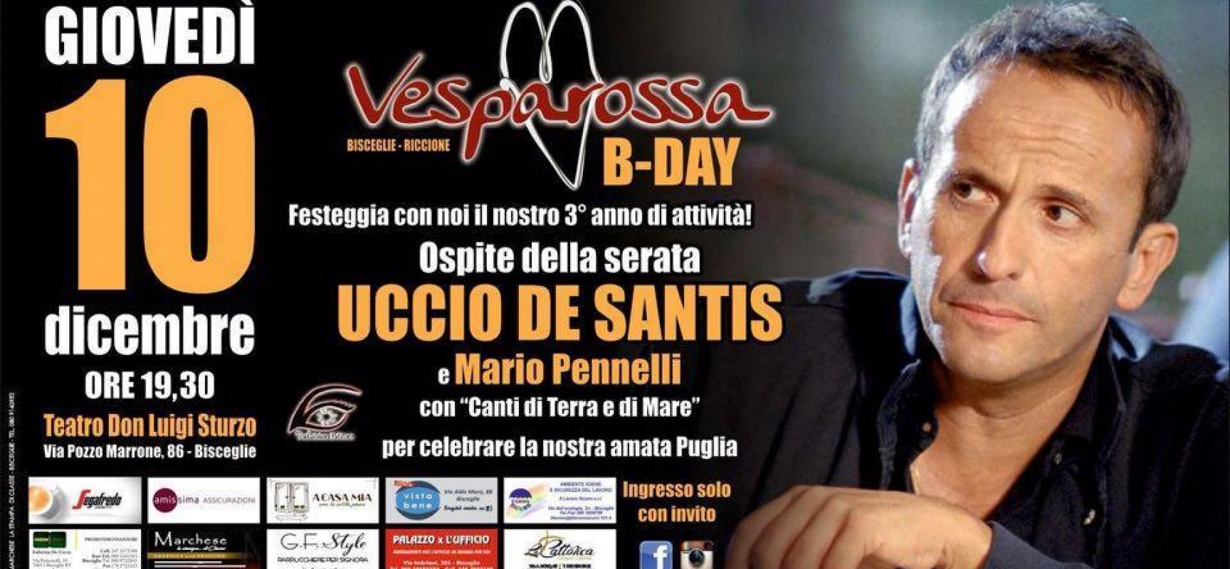 """Mario Pennelli ed Uccio De Santis al """"Don Sturzo"""" per festeggiare i tre anni di Vesparossa"""