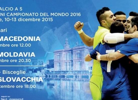 La Nazionale di calcio a 5 il 13 dicembre a Bisceglie per le qualificazioni ai Mondiali: PROGRAMMA