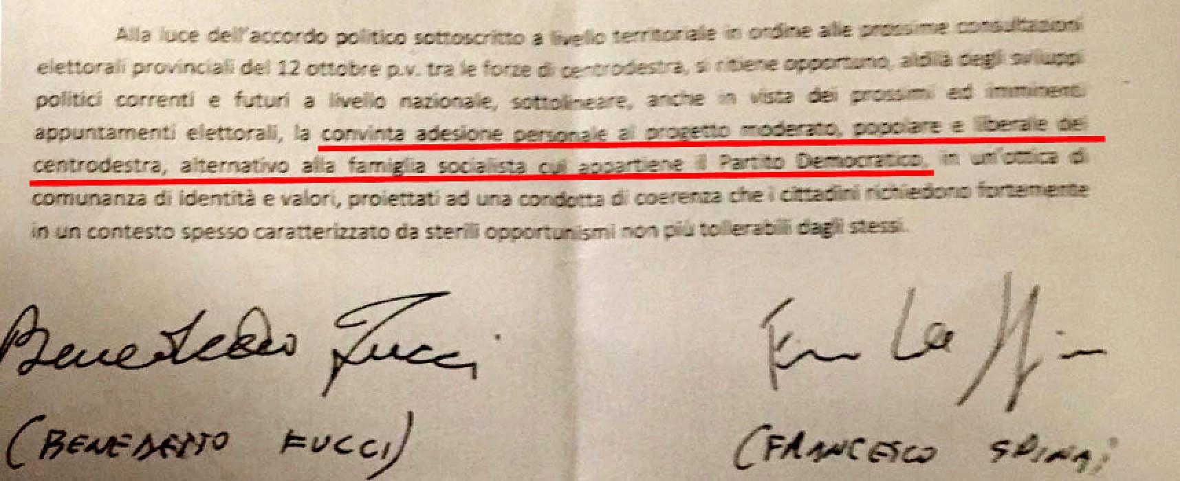 """Fucci mostra il documento segreto, Spina sottoscrisse """"Convinta adesione al centrodestra"""""""