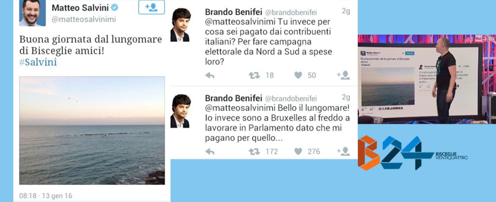 Il tweet di Salvini da Bisceglie scatena una bufera social che finisce anche su Rai3