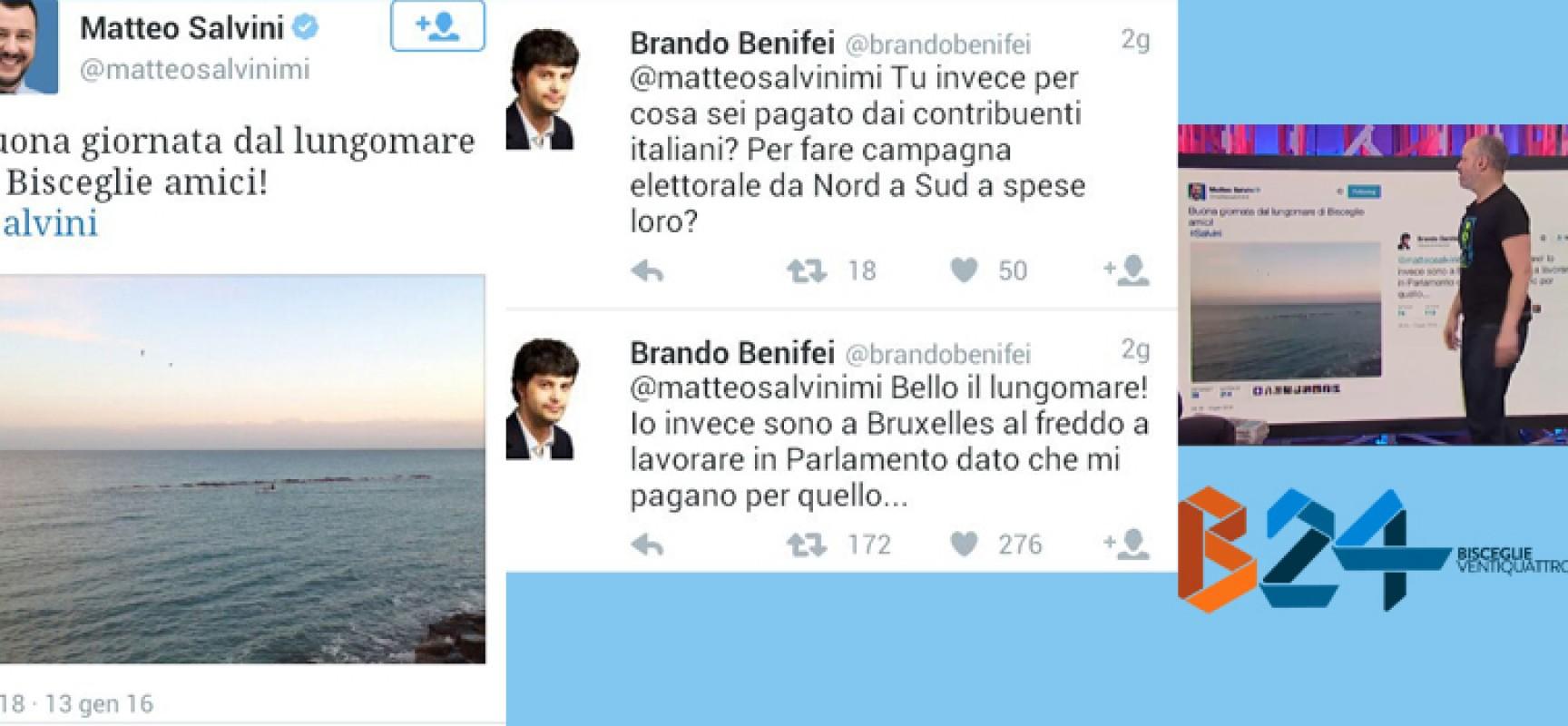 Il tweet di salvini da bisceglie scatena una bufera social for Lavorare in parlamento