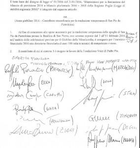 Emendamento 100mila euro padre pio