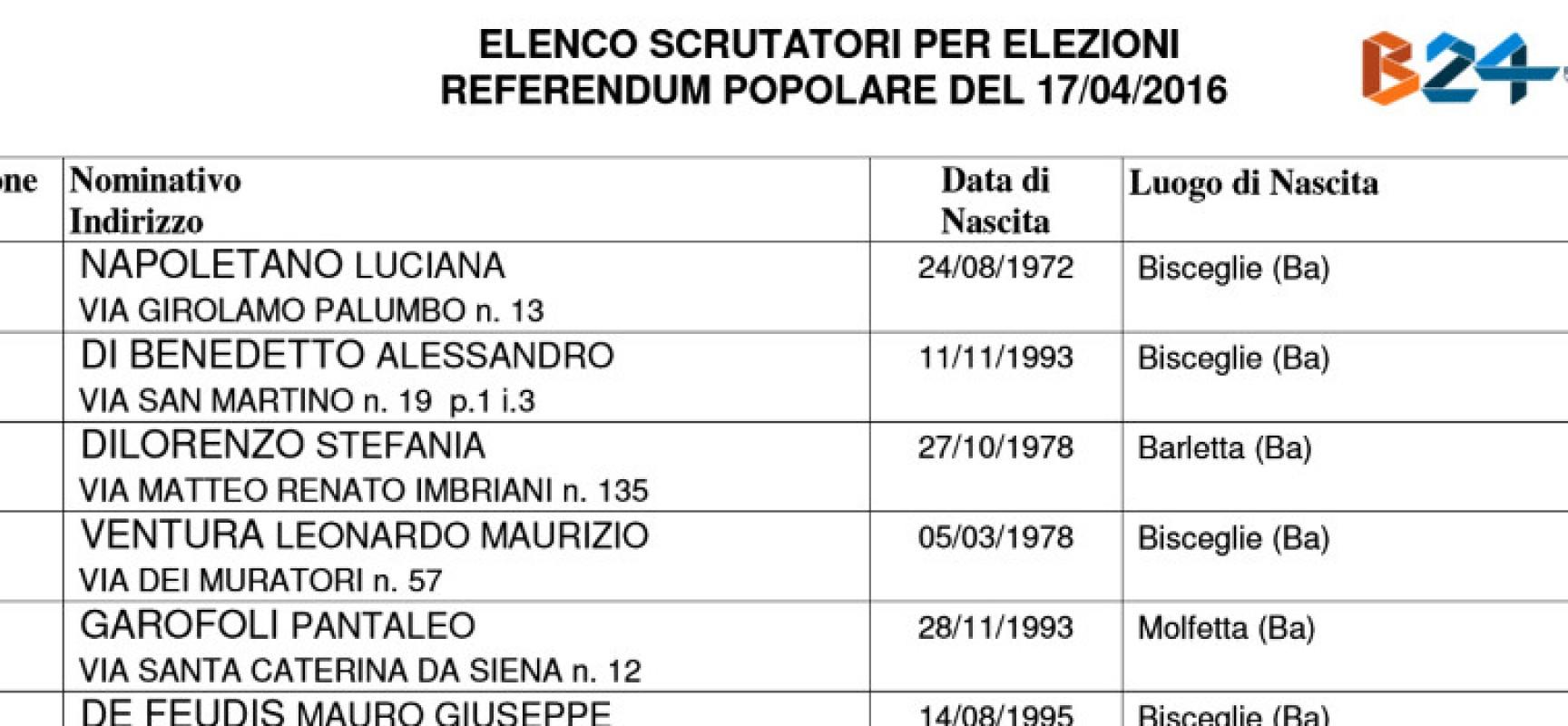 Referendum del 17 aprile, ecco gli scrutatori sorteggiati /ELENCO