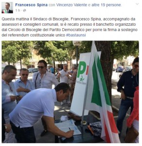 Spina post firma referendum costituzionale Pd
