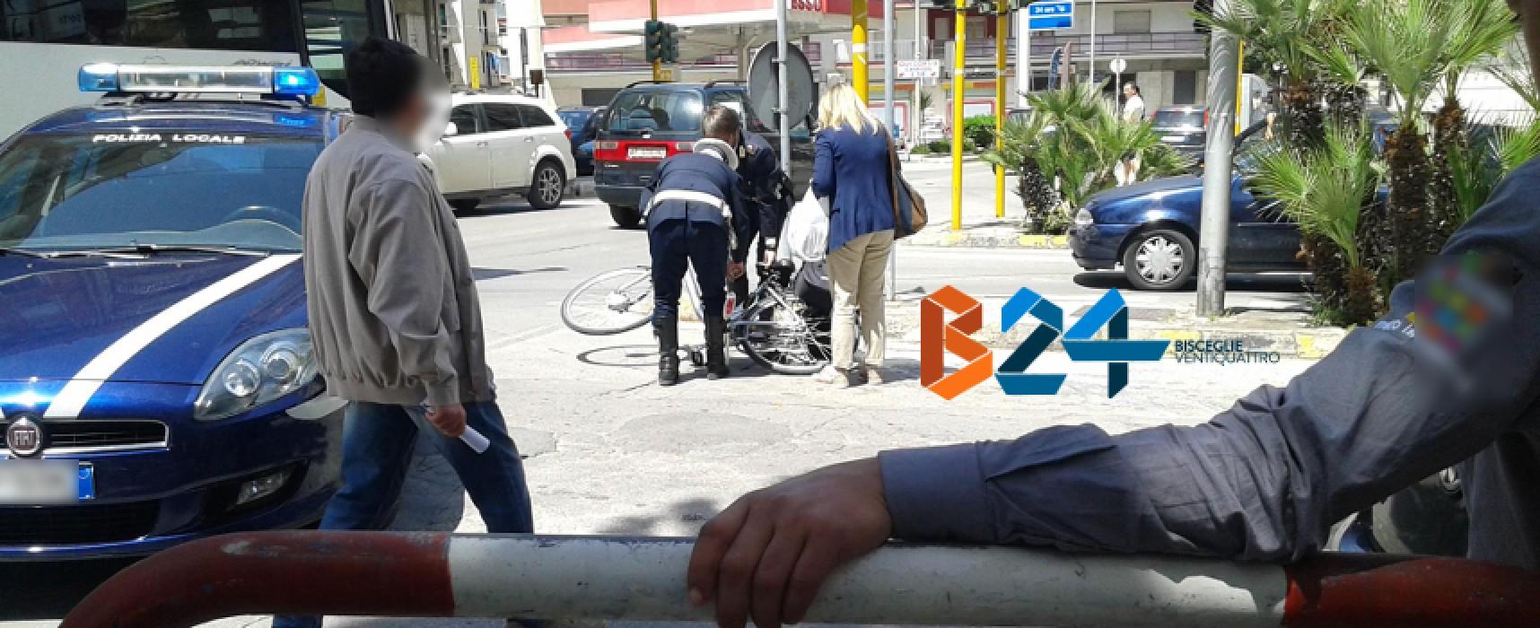 Investita in bici a un incrocio in zona Seminario, donna biscegliese al pronto soccorso
