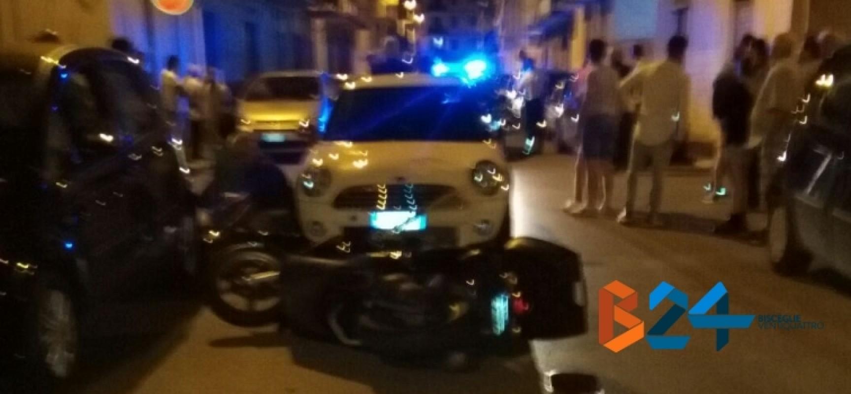 Scontro tra auto e scooter ieri sera, feriti due coniugi biscegliesi