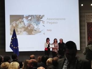 Un momento della premiazione del 12 ottobre a Bruxelles