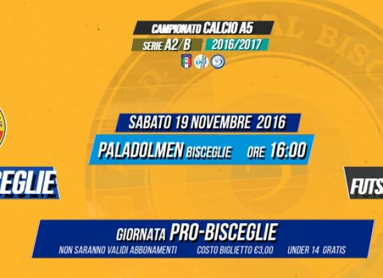 """Nella giornata """"Pro Futsal Bisceglie"""" arriva la capolista Cisternino"""