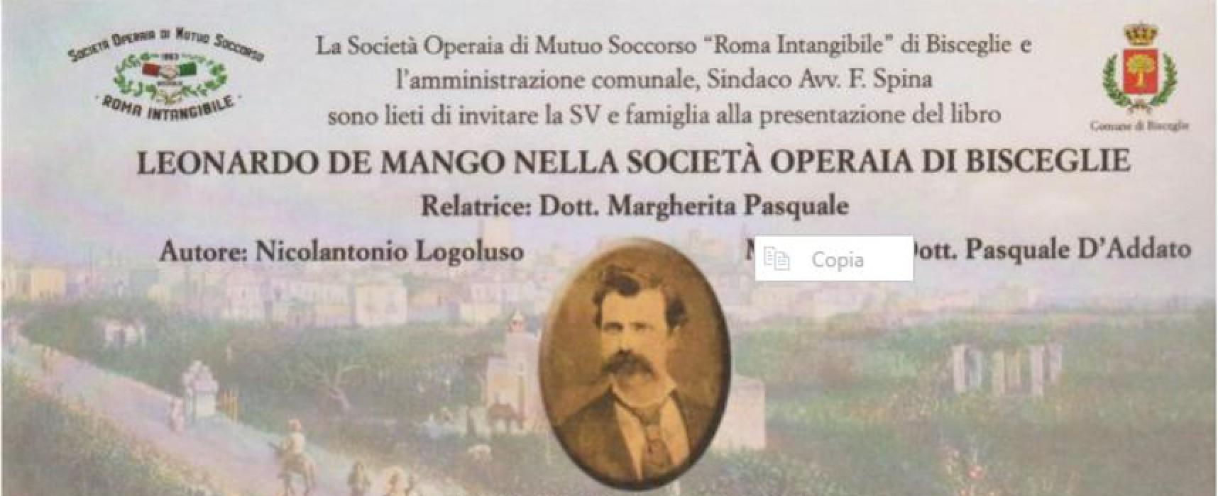 """La Società Operaia di Mutuo Soccorso """"Roma Intangibile"""" ricorda Leonardo De Mango"""