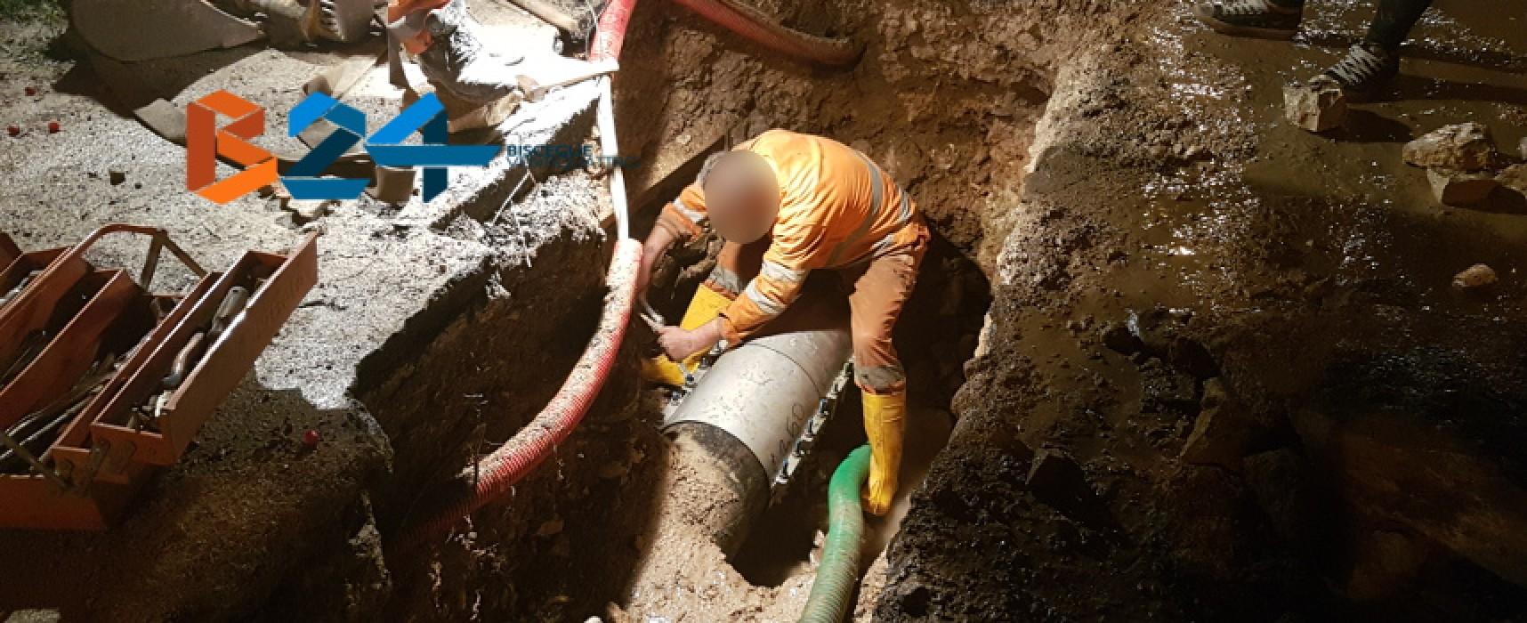 Fornitura d'acqua interrotta su via San Mercuro e via Vecchia Corato, tecnici Aqp al lavoro