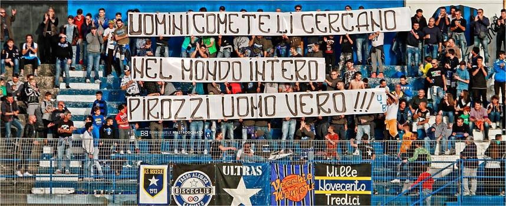 Tifosi biscegliesi dedicano striscione a Pirozzi, il sindaco di Amatrice ringrazia su Facebook
