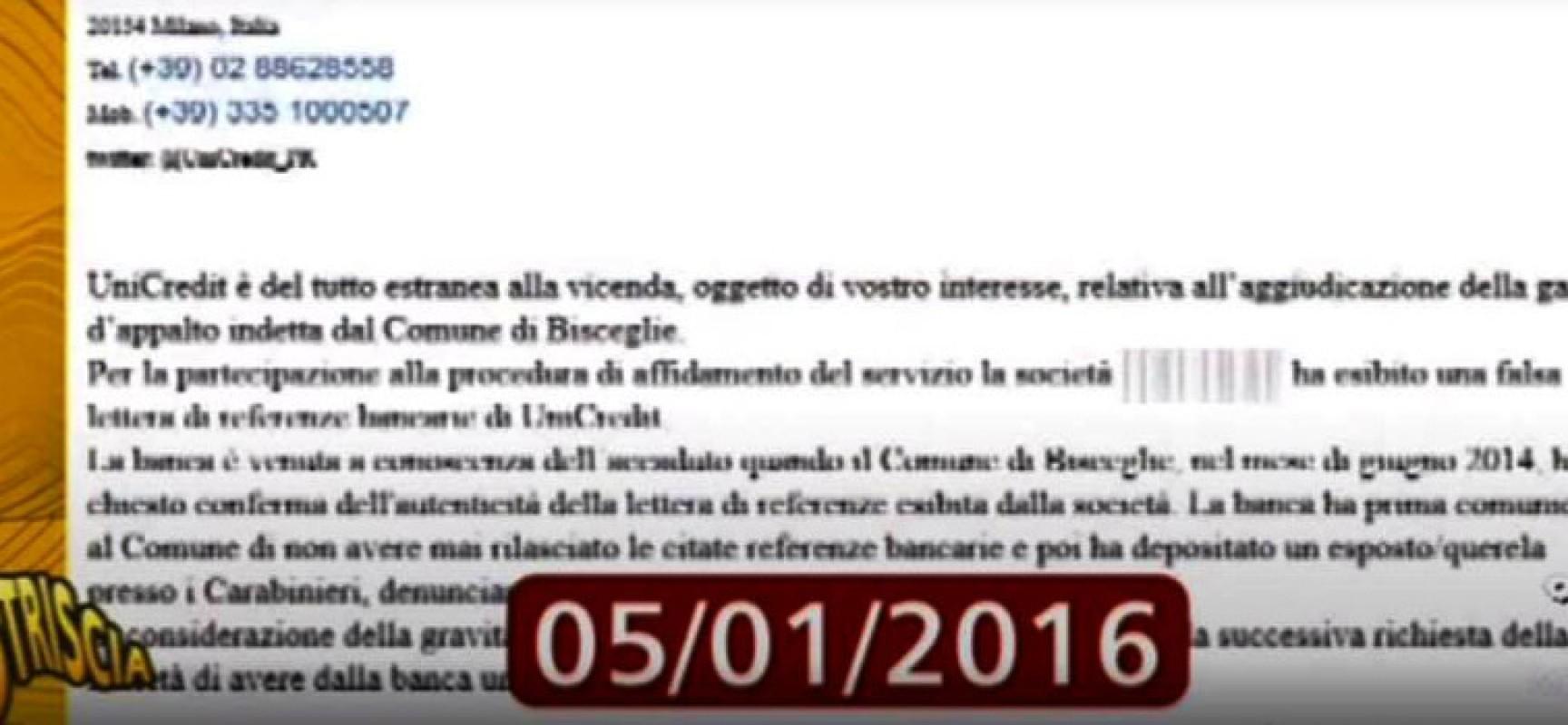 """Italtraff, comune di Bisceglie: """"A chi è stata inviata la nota Unicredit?"""""""