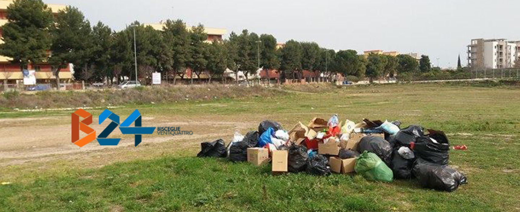 Ancora rifiuti abbandonati, cumuli di bustoni sui terreni di via san Martino / FOTO