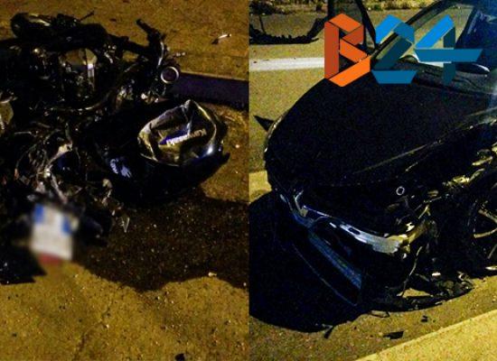 Violento scontro auto-moto in via Giovanni Bovio, due feriti al pronto soccorso