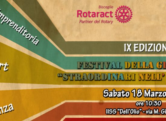 """Giovani e talento, Rotary e Rotaract Bisceglie organizzano il IX """"Festival della Gioventù"""""""