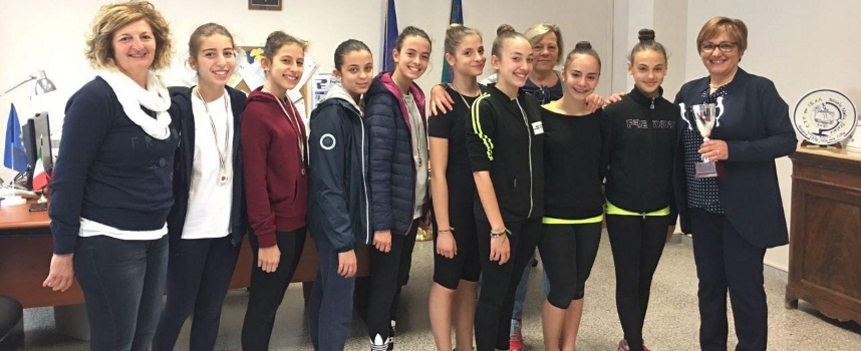 """Campionati studenteschi: """"Battisti-Ferraris"""" a podio nella ginnastica ritmica / FOTO"""